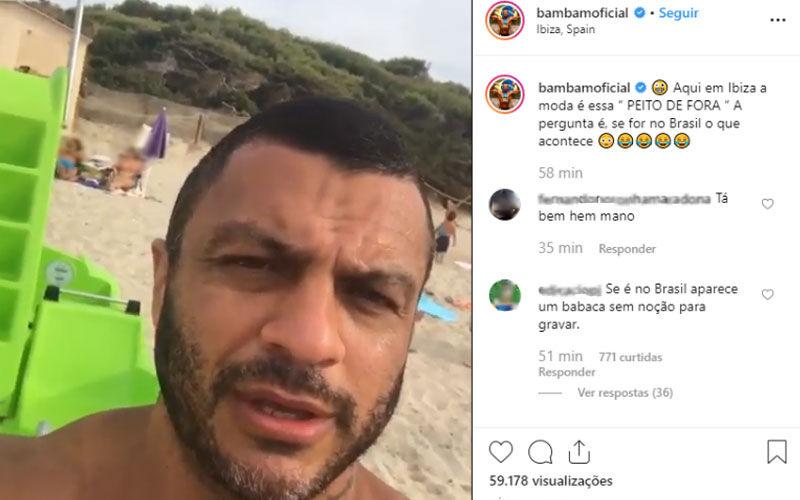 Imagem ilustrativa da notícia: Bambam posta vídeo de mulher de toplessem praia e gera polêmica