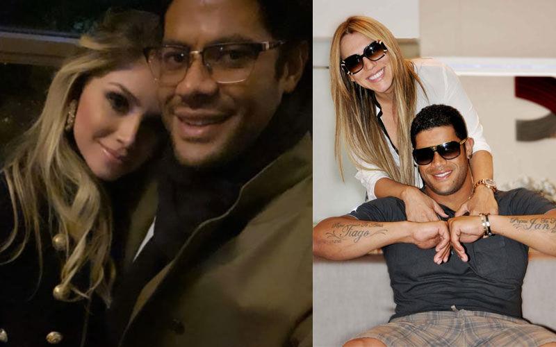 Hulk postou fotos de jantar romântico com Camila Ângelo (à esquerda), que é sobrinha de Iran Ângelo, ex-esposa do atleta (à direita)