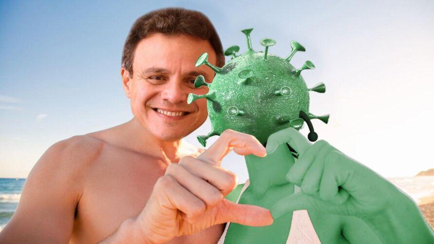 Zenaldo virou meme após ser flagrado em praia, sem máscara e sem respeitar o distanciamento social.