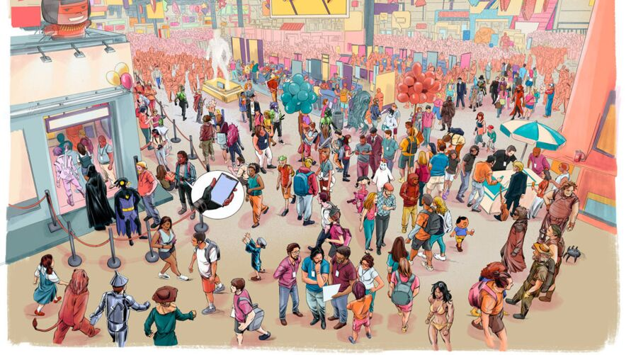 Uma das páginas centrais de Noite de Spoiler arte de Dan Borges e Kaji Pato