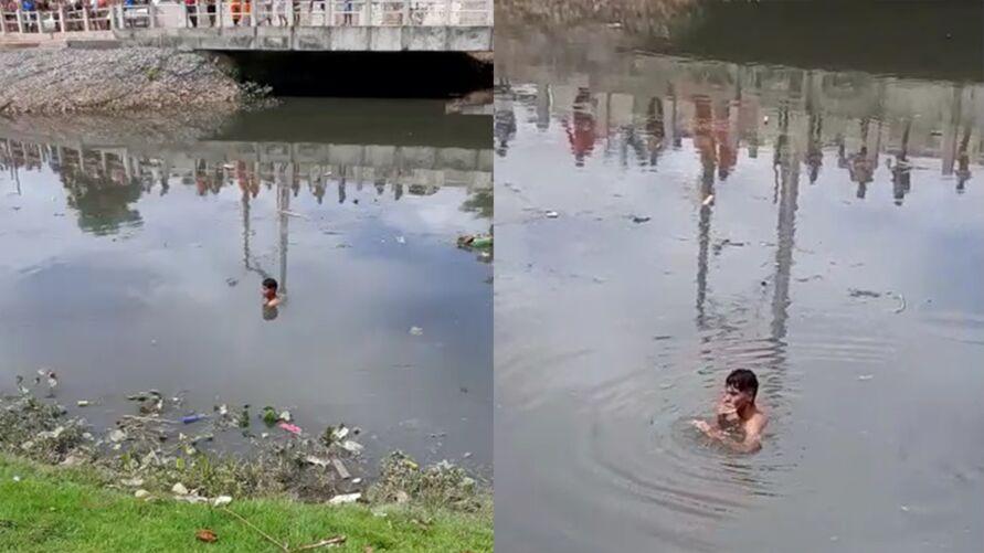 Imagem ilustrativa da notícia: Homemse joga em canal para não ser linchado pela população