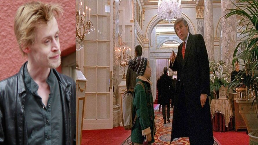 Donald Trump e Macaulay Culkin em cenas do filme 'Esqueceram de Mim 2'