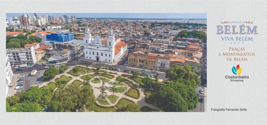 """Cartão postal da exposição """"Belém Viva Belém 405 anos: Praças e Monumentos""""."""