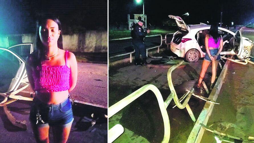 Eliandra Mata dos Santos, a arma, munições e o carro após o acidente. Ela foi levada à Delegacia de Polícia Civil do Moju