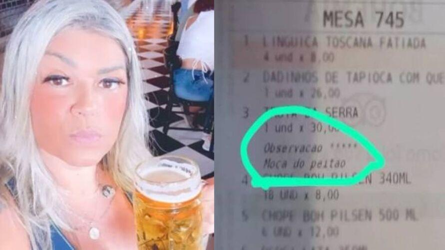 Mulher foi surpreendida ao receber a comanda do bar.