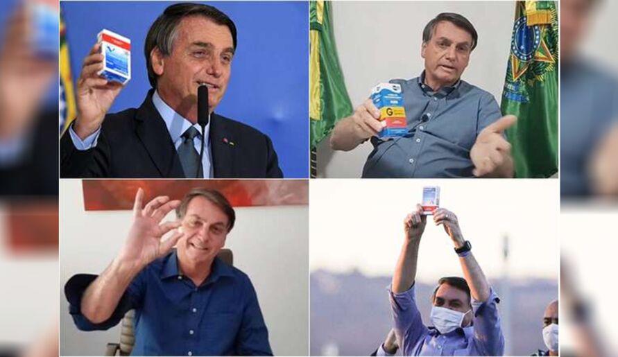 Bolsonaro em suas inúmeras propagandas do remédio ineficaz contra covid-19.