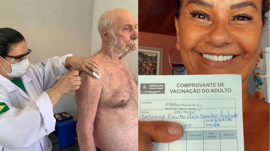 Na imagem, Paulo César Pereio, de 80 anos, sendo vacinado. E Solange Couto, após ser vacinada.