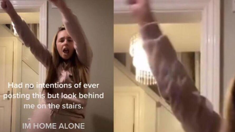 Imagem ilustrativa da notícia: Vídeo: fantasma aparece em escada enquanto garota faz dança para o TikTok
