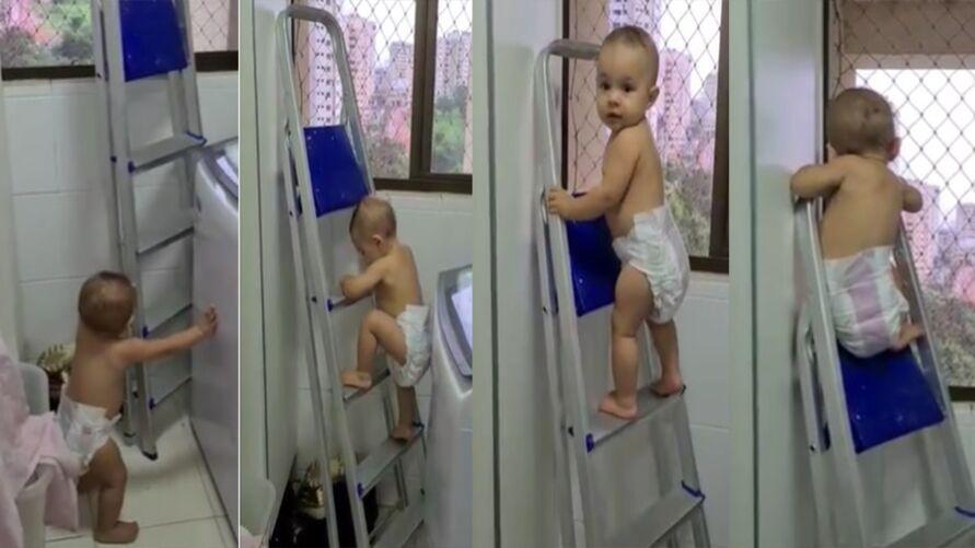 Imagem ilustrativa da notícia: Vídeo de bebê viraliza ao subir as escadas e se pendurar para ver a janela