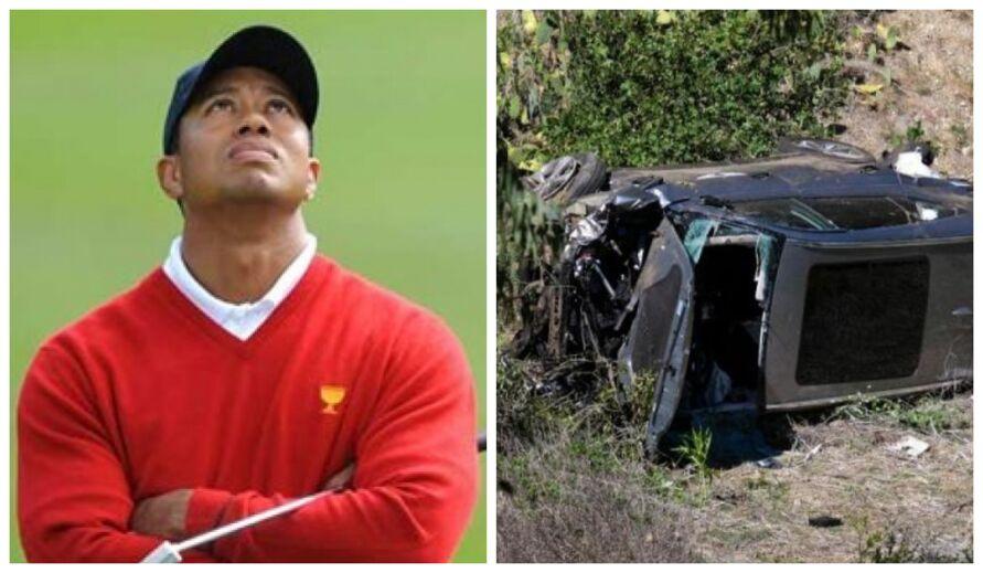 Carro em que o astro do golfe estava ficou destruído