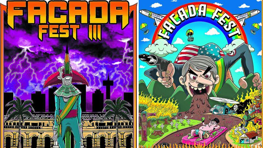 """Cartazes de duas edições do """"Facada Fest"""", em 2019, em Belém e Marabá, são alvo da denúncia. Defesa dos organizadores e do ilustrador entraram com habeas corpus"""