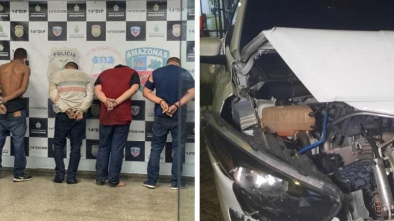 Os criminosos só pararam após a viatura da polícia colidir com o carro deles