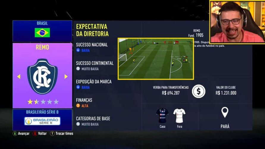 Imagem ilustrativa da notícia: Com Gedoz custando quase R$1 milhão, Remo terá 'investimento' de streamer para chegar até a Libertadores do FIFA-2021
