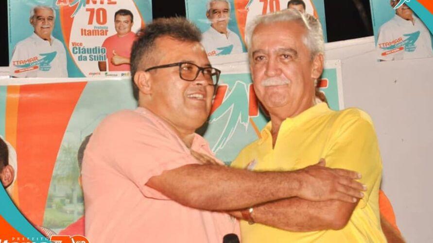 Chapa do prefeito Itamar Cardoso (à direita) e do vice Cláudio da Sthil (à esquerda) teve registro indeferido pelo TSE