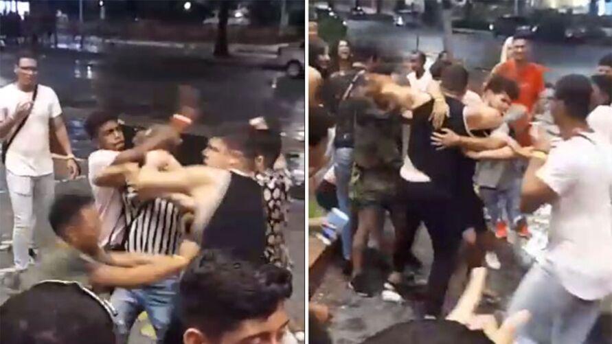 Imagem ilustrativa da notícia: Vídeo registra confusão e briga generalizada entre grupos na Doca de Souza Franco