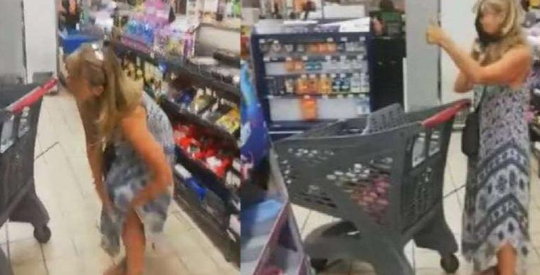 Imagem ilustrativa da notícia: Mulher tira calcinha e usa ela como 'máscara' em supermercado; assista