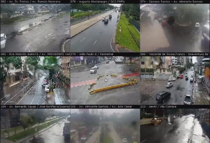 Imagens das vias monitoradas pelas câmeras da Segup