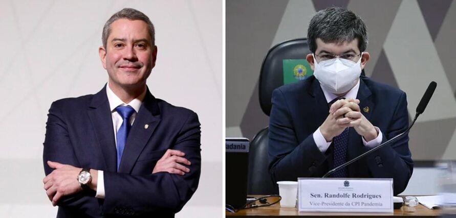 Presidente da CBF, Rogério Caboclo e o vice-presidente da CPI da Covid, Randolfe Rodrigues (Rede-AP)