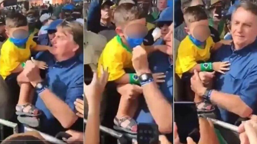Imagem ilustrativa da notícia: Bolsonaro tira máscara de criança para fazer foto