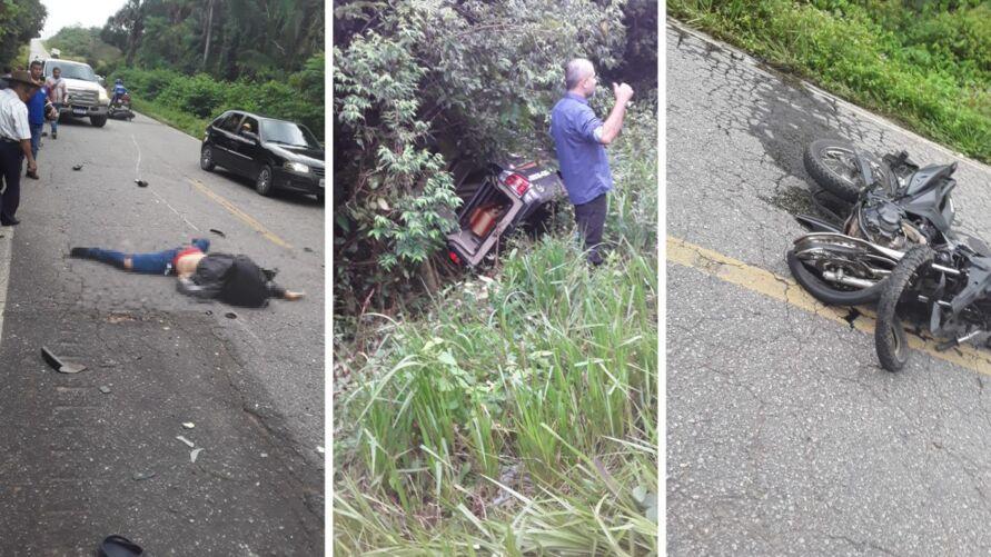 O condutor e a mulher que estava na garupa da moto morreram no local