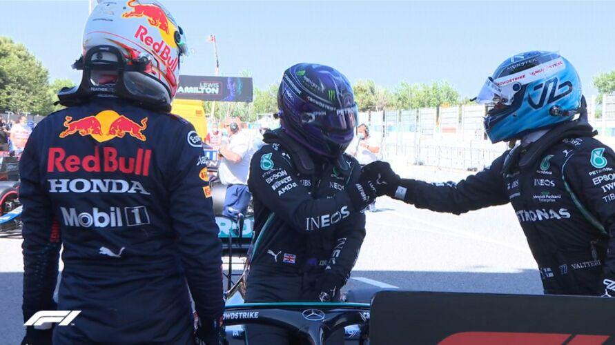 Hamilton, Verstappen e Bottas estão no grid de largada.