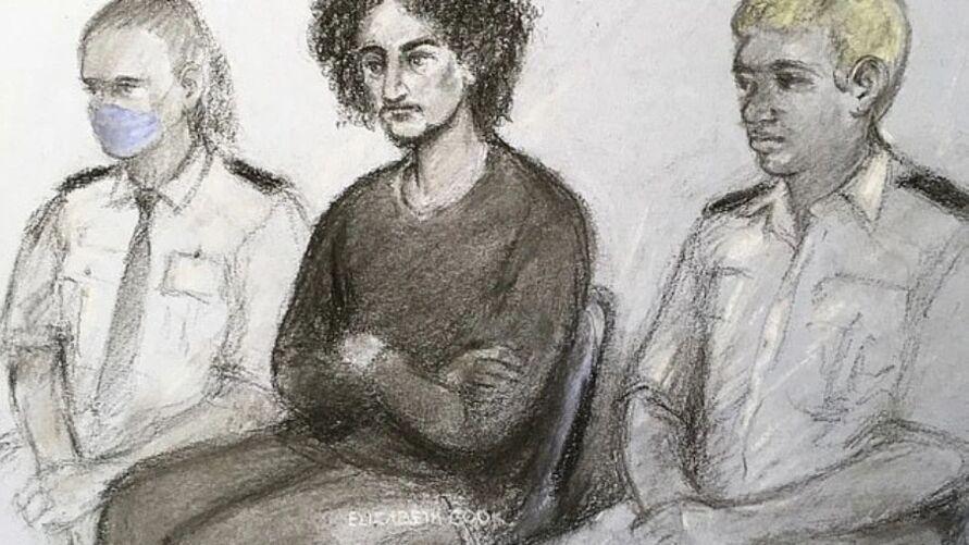 Desenho representativo de Danyal Hussein durante sessão na corte.