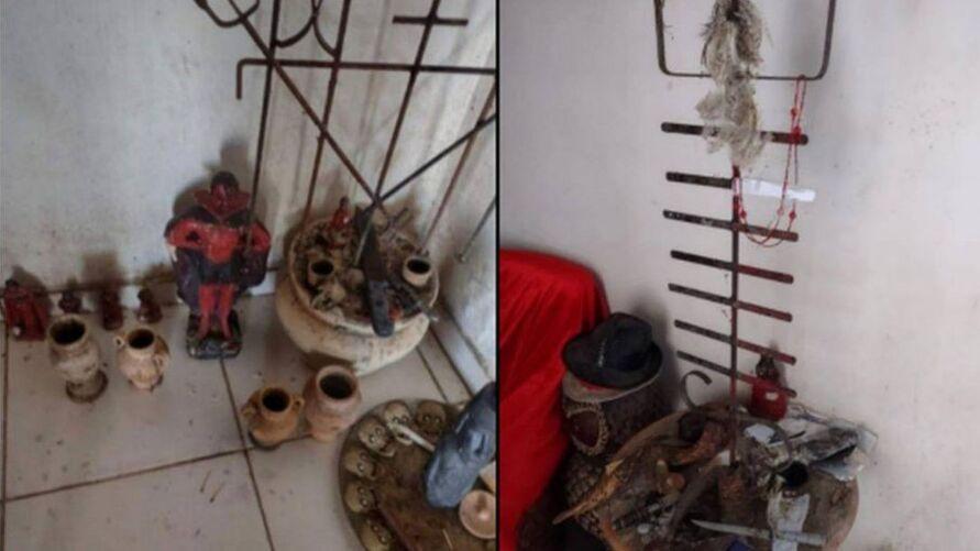 Objetos religiosos foram encontrados na casa de Lázaro, apontado como autor de uma série de crimes