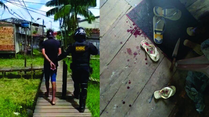 Homem foi preso por guardas municipais, no Tapanã. A foto mostra o sangue da vítima, no assoalho da casa