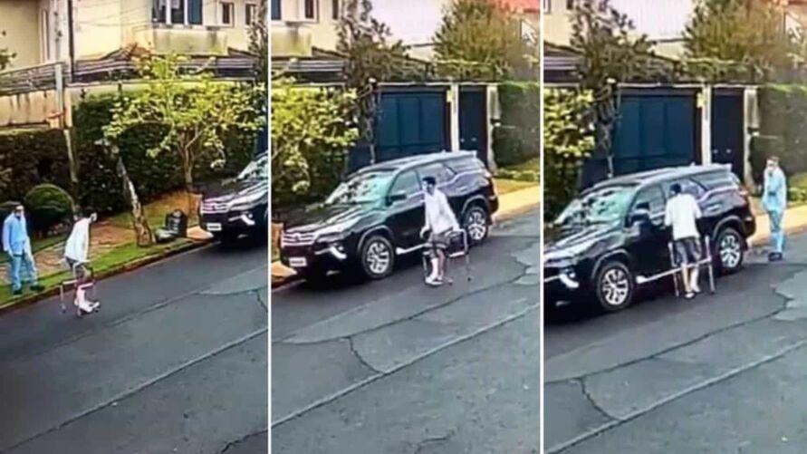 Imagem ilustrativa da notícia: Homem com a perna engessada furta carro. Veja o vídeo!