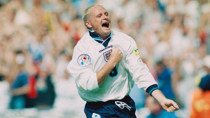 Paul Gascoigne quando jogava pela Inglaterra, 96.