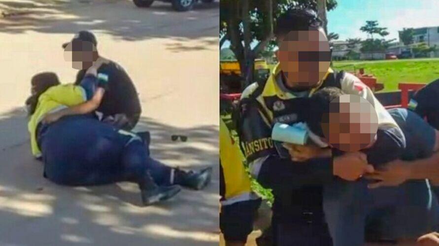 Motociclista atropelou agente de trânsito e teve que ser contido ao tentar fugir