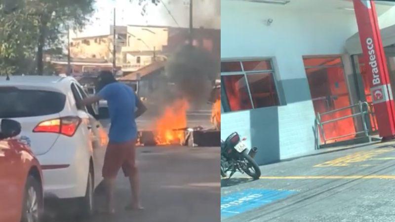 Criminosos ainda não identificados, com armas e encapuzados, incendiaram e destruíram bancos e veículos
