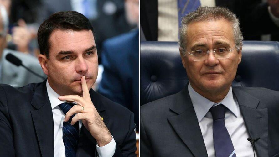 Os senadores Flávio Bolsonaro e Renan Calheiros.