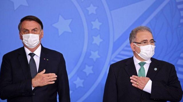 Presidente Jair Bolsonaro e o Ministro Marcelo Queiroga.