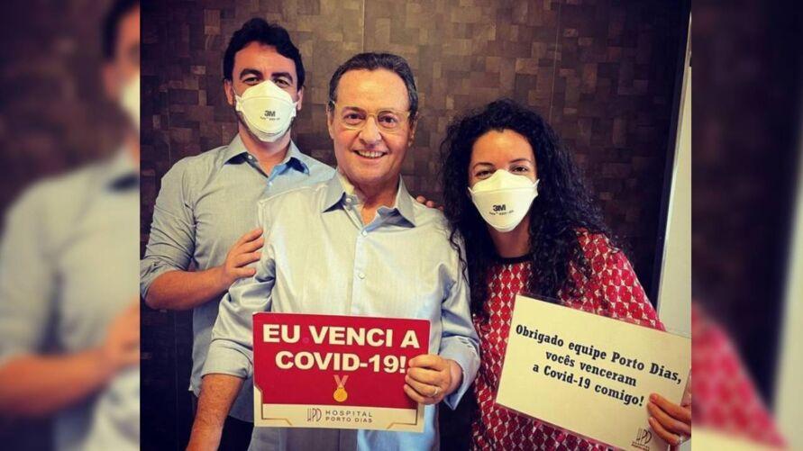 Mauro Bonna com os filhos após receber alta do hospital