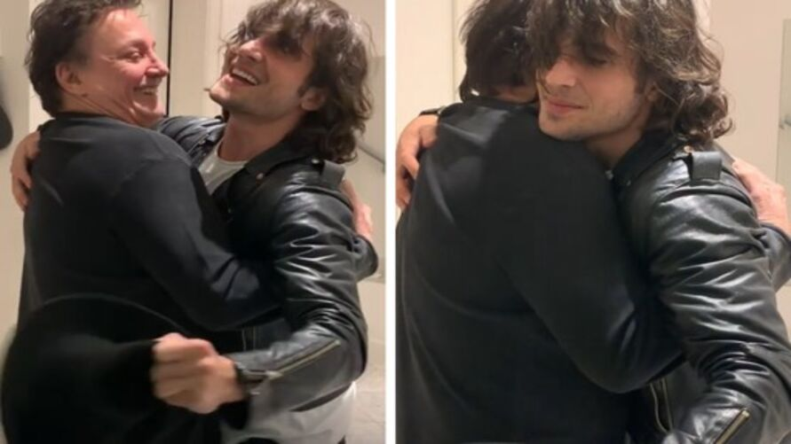 Fabio e Fiuk se abraçam