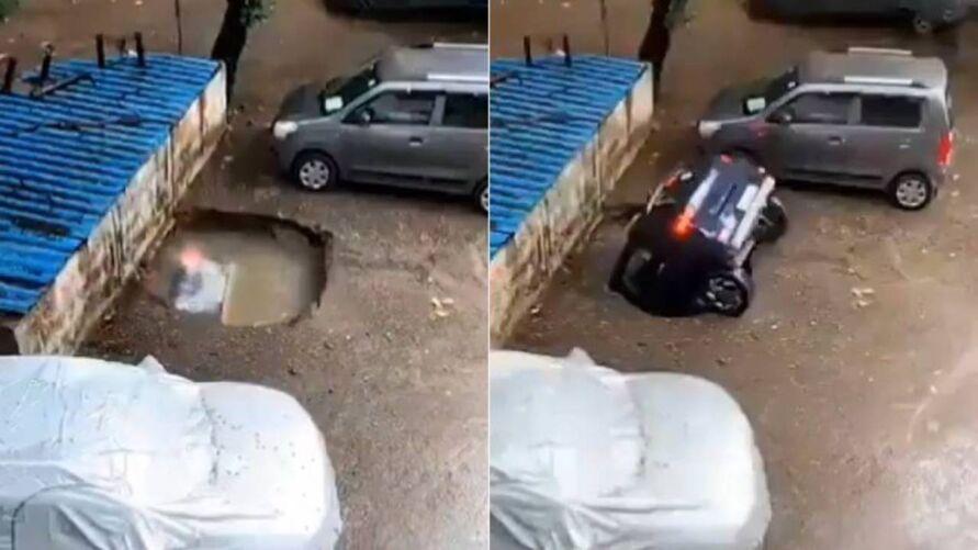 Imagem ilustrativa da notícia: Vídeo: cratera engole carro em vaga de estacionamento