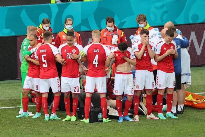 Jogadores, seleções e clubes criam rede de apoio a Eriksen após cena chocante na Eurocopa.