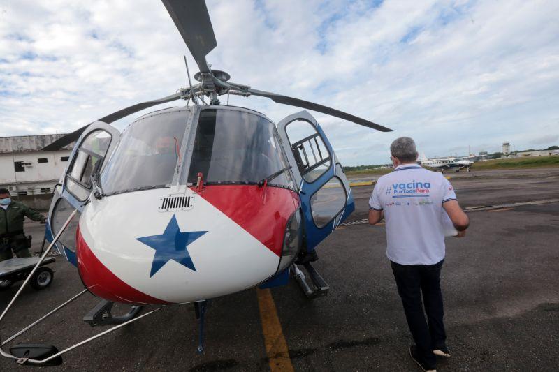 Helicóptero do Graesp é uma das três aeronaves utilizadas pelo governo do Estado para fazer a entrega das vacinas aos municípios