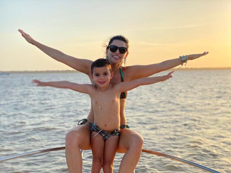 Priscila Vieira e o filho Noah