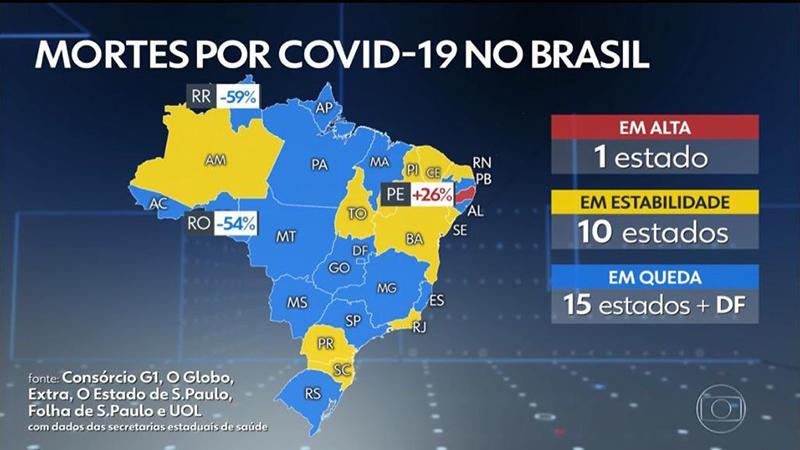 Mapa do Jornal Nacional, da TV Globo, mostra a situação em azul do Pará