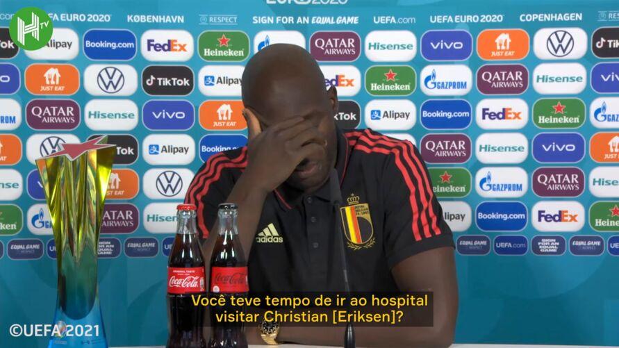 Lukaku fala sobre a conversa com Eriksen antes do jogo entre Bélgica e Dinamarca.