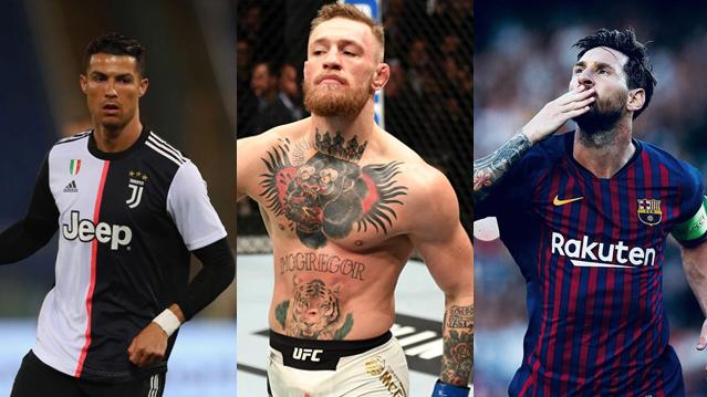 Cristiano Ronaldo, Conor McGregro e Lionel Messi: atletas que valem seu peso em ouro.