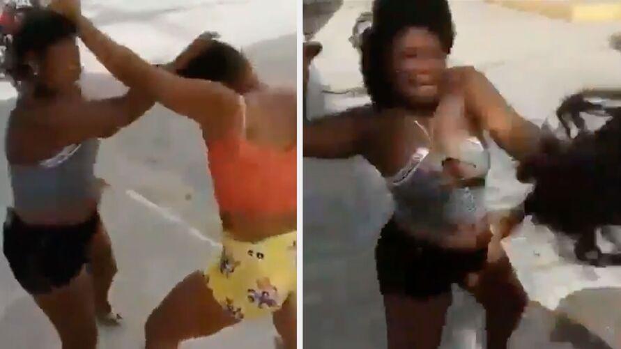 """Imagem ilustrativa da notícia: Marido """"ensina"""" esposa a bater na amante; veja a briga!"""