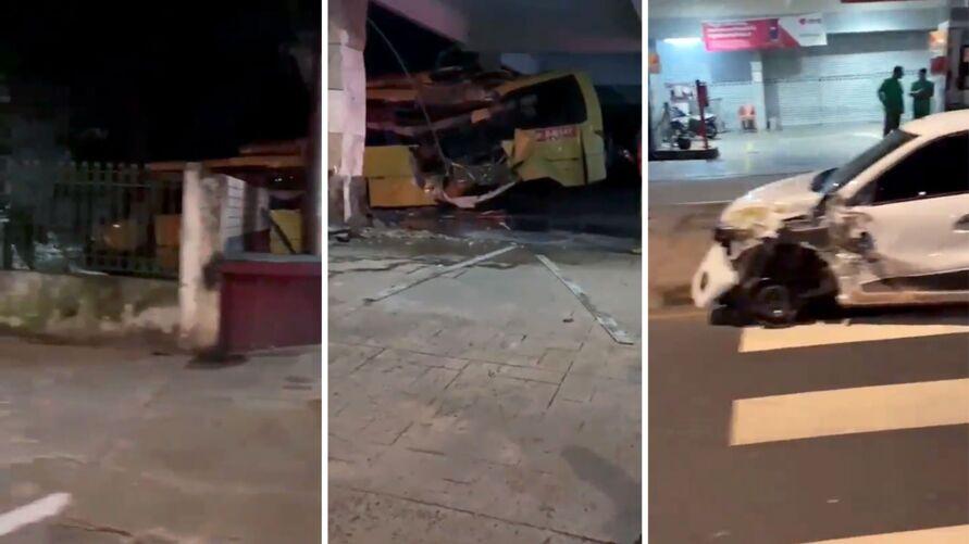O ônibus ficou destruído após a colisão, já o carro particular ficou com a lateral amassada.