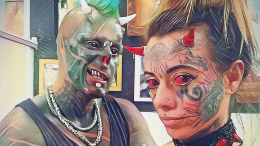 Diabão e Mulher Demônia fazem sucesso nas redes sociais.