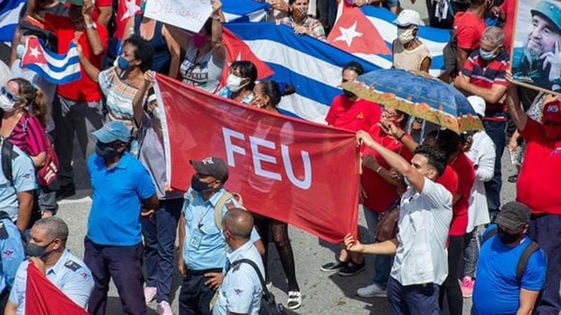 Manifestação em apoio ao governo Cubano
