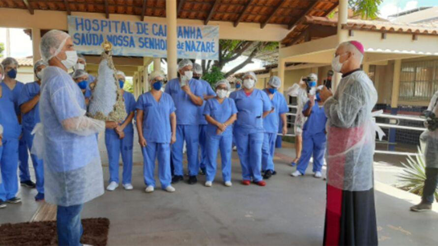 Profissionais de saúde tiveram um momento especial com a padroeira dos paraenses