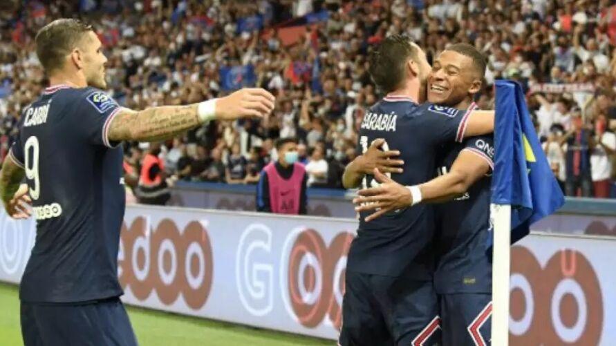 Comemoração dos jogadores do PSG