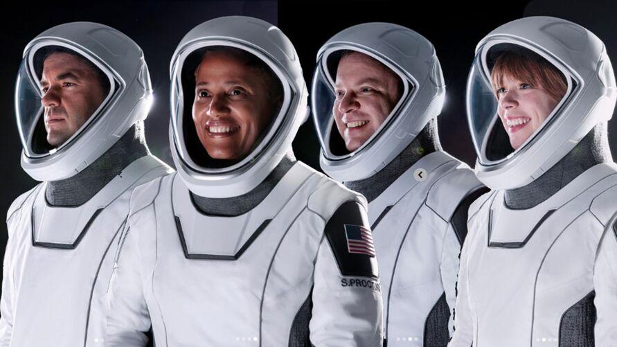A Crew Dragon tem espaço para seis tripulantes, mas levará apenas quatro. Cada um dos tripulantes representa um pilar da missão.